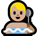 Man in Steamy Room Emoji with Medium-Light Skin Tone, Microsoft style