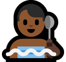 Man in Steamy Room Emoji with Medium-Dark Skin Tone, Microsoft style
