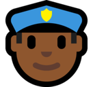 Man Police Officer Emoji with Medium-Dark Skin Tone, Microsoft style