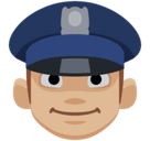 Man Police Officer Emoji with Medium-Light Skin Tone, Facebook style