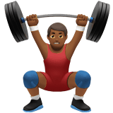Man Lifting Weights Emoji with Medium-Dark Skin Tone, Apple style