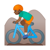 Man Mountain Biking Emoji with a Medium-Dark Skin Tone, Google style
