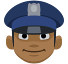 Man Police Officer Emoji with Medium-Dark Skin Tone, Facebook style