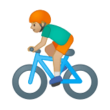 Man Biking Emoji with Medium-Light Skin Tone, Google style