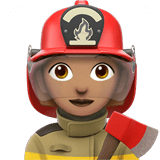 Woman Firefighter Emoji with Medium Skin Tone, Apple style