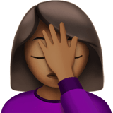 Woman Facepalming Emoji with a Medium-Dark Skin Tone, Apple style