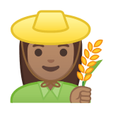 Woman Farmer Emoji with Medium Skin Tone, Google style
