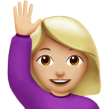 Person Raising Hand Emoji with Medium-Light Skin Tone, Apple style