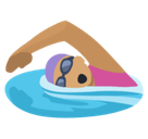 Woman Swimming Emoji with Medium Skin Tone, Facebook style