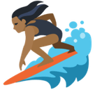 Woman Surfing Emoji with Medium-Dark Skin Tone, Facebook style