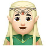 Elf Emoji with Light Skin Tone, Apple style