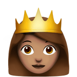 Princess Emoji with a Medium Skin Tone, Apple style
