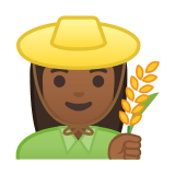Woman Farmer Emoji with Medium-Dark Skin Tone, Google style