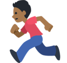 Man Running Emoji with Medium-Dark Skin Tone, Facebook style