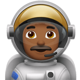 Man Astronaut Emoji with a Medium-Dark Skin Tone, Apple style