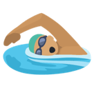 Man Swimming Emoji with Medium Skin Tone, Facebook style