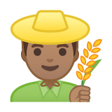 Man Farmer Emoji with Medium Skin Tone, Google style