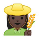Woman Farmer Emoji with a Dark Skin Tone, Google style