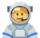 Woman Astronaut Emoji with Dark Skin Tone, Facebook style
