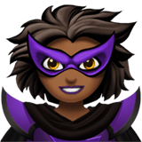 Woman Supervillain Emoji with Medium-Dark Skin Tone, Apple style