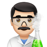 Man Scientist Emoji with a Light Skin Tone, Apple style