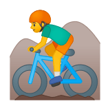 Mountain Biker Emoji / Person Mountain Biking Emoji, Google style