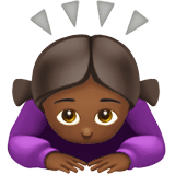 Woman Bowing Emoji with Medium-Dark Skin Tone, Apple style