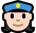 Woman Police Officer Emoji with Light Skin Tone, Microsoft style