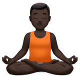 Man in Lotus Position Emoji with Dark Skin Tone, Apple style