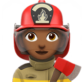 Woman Firefighter Emoji with a Medium-Dark Skin Tone, Apple style