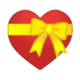 Heart with Ribbon Emoji, Google style