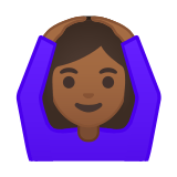 Woman Gesturing Ok Emoji with Medium-Dark Skin Tone, Google style