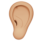 Ear Emoji with a Medium-Light Skin Tone, Apple style
