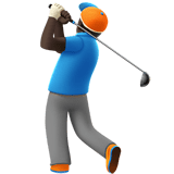 Person Golfing Emoji with Dark Skin Tone, Apple style