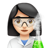 Woman Scientist Emoji with a Light Skin Tone, Apple style