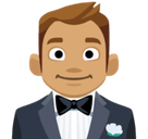 Man in Tuxedo Emoji with Medium Skin Tone, Facebook style
