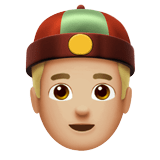 Man with Chinese Cap Emoji with Medium-Light Skin Tone, Apple style