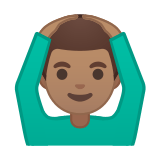 Man Gesturing Ok Emoji with Medium Skin Tone, Google style
