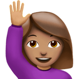 Woman Raising Hand Emoji with a Medium Skin Tone, Apple style