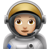 Woman Astronaut Emoji with a Medium-Light Skin Tone, Apple style