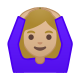 Woman Gesturing Ok Emoji with a Medium-Light Skin Tone, Google style