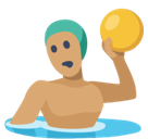 Person Playing Water Polo Emoji with Medium Skin Tone, Facebook style