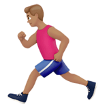Person Running Emoji with Medium Skin Tone, Apple style