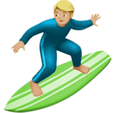 Person Surfing Emoji with Medium-Light Skin Tone, Apple style