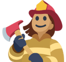 Woman Firefighter Emoji with Medium Skin Tone, Facebook style