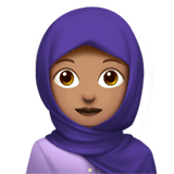 Woman with Headscarf Emoji with Medium Skin Tone, Apple style