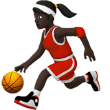 Woman Bouncing Ball Emoji with a Dark Skin Tone, Apple style