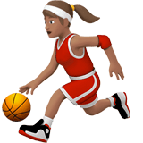 Woman Bouncing Ball Emoji with a Medium Skin Tone, Apple style