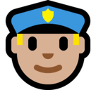 Man Police Officer Emoji with Medium-Light Skin Tone, Microsoft style