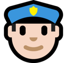 Man Police Officer Emoji with Light Skin Tone, Microsoft style
